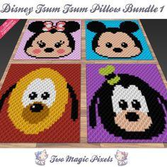 Disney Tsum Tsum Pillow Bundle 1; crochet; knitting; c2c, sc, tss, cross stitch; Knitting Patterns, Crochet Patterns, Graph Design, Disney Tsum Tsum, C2c Crochet, Bobble Stitch, Plastic Canvas Crafts, Yarn Brands, Mickey Minnie Mouse