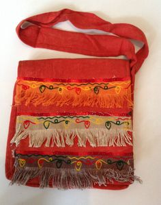 Orange Tassel Indian Cotton Sequin Brocade Hippy Boho Shoulder Messenger Bag