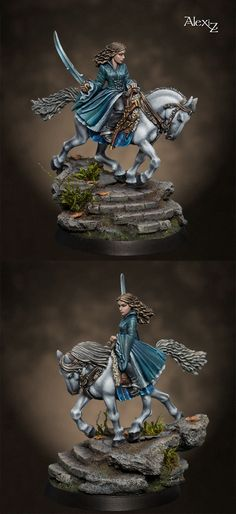 Arwen Mounted, from Natalya Melnik.  The freehand on the robes is amazing, but what really impresses me is the fact that the horse model itself is smooth metal. That hair's painted on!