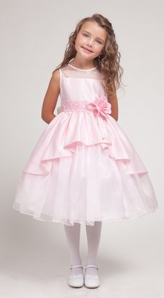 Pink Princess Overlay Flower Girl Dress