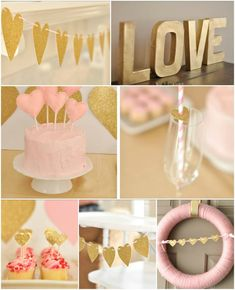 Absolutely dying over those little sparkly gold hearts on the straws! pink and gold heart party by Eat Drink Pretty. Photographed by Live the Fancy Life.