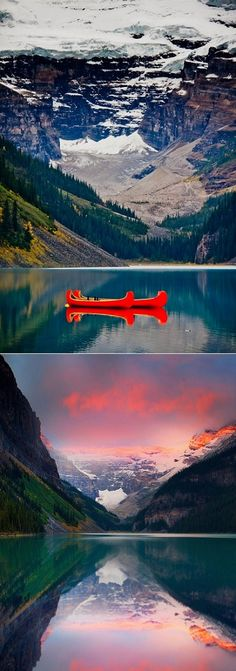 I'd love to spend my day floating about Lake Louise on one of those bright red canoes.