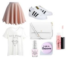 """Pink & White ✨"" by beautycrafting ❤ liked on Polyvore featuring Chicwish, WithChic, adidas, Tory Burch, MAC Cosmetics, women's clothing, women, female, woman and misses"
