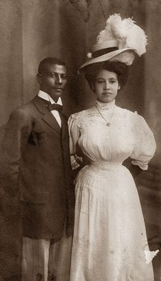 AND THEY LIVED HAPPILY EVER AFTER   CIRCA 1900— Turn-of-the-century wedding portrait of an unidentified African American couple.