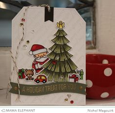 Jumbo sized Christmas tag showcasing Mama Elephant stamps and dies. #mamaelephant #cozychristmas #tagsalot