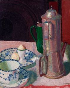 Still life - coffee pot by Malcolm Drummond 1914 Australia House, South Australia, Clive Bell, Walter Sickert, English Artists, Post Impressionism, Asian Art, Still Life, Oil On Canvas