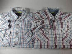 Lot of 2 American Rag Mens Slim Fit Western Pearl Snap Shirts Plaid Size Large #AmericanRag #Western