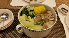 Boiled pork ribs in clear broth w/ veggies (pork nilaga)