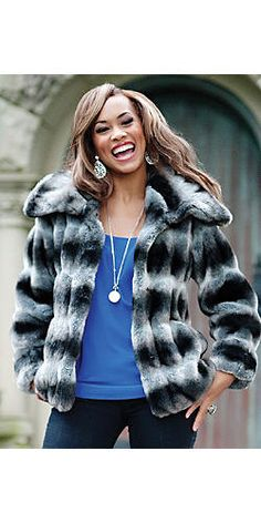 """www.fabulousfurs.com    Breathtakingly soft, this 26"""" jacket will make you love winter. The adjustable collar adds an extra dimension of luxury. Made in USA and imported. XS-3X"""