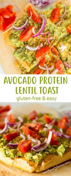 Avocado on Lentil Protein Toast Recipe - Gluten-free & Easy  via @nestandglow