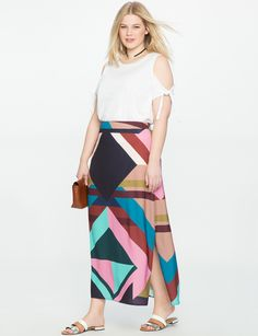 0fe3446938b Eloquii Studio Printed Maxi Skirt - 20 Womens Maxi Skirts