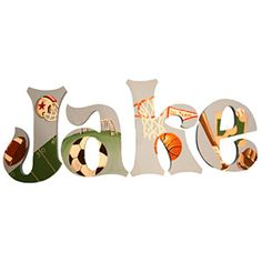 Kids\' Rooms Trends: Wall Letters: Vintage Sports Letters (via Parents.com)...cute idea for Logan's room
