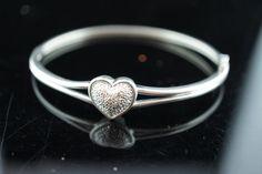 Vintage Art Deco bracelet Hollow Sterling Silver Hinged Bangle Bracelet With…