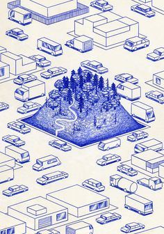 Series of blue ballpoint pen drawings (biro art) by French artist Kevin Lucbert. Titled Blue Lines, the drawings portrays houses, suburban streets, doorways, mountains and forests with a bit mystical surrealism. Illustration Ligne, Illustration Design Graphique, Line Illustration, Illustrations, Biro Art, Ballpoint Pen Drawing, Stylo Art, Interaktives Design, Book Design