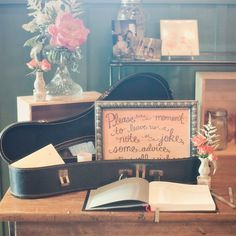 This would be a great way to tie in the music vibe from the wedding into the reception. Rather than a card box, this would be great for cards.