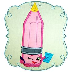 Shopkins Pencil Applique Shopkins, Pillowcases, Machine Embroidery Designs, Appliques, Pattern Design, Stitching, Pencil, Kids Rugs, Disney