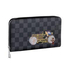 Men Louis Vuitton Damier Graphite Canvas Zippy Organiser Illustre Grey N63002