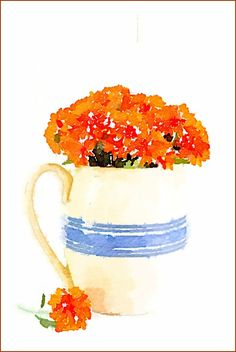 DIY Fall Watercolor Printables | Mums in Vintage Pitcher | On Sutton Place