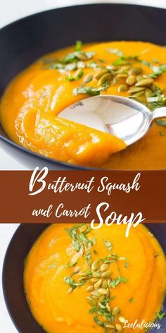 This healthy roasted Butternut Squash and Carrot Soup is perfect cold weather food and is super easy to make. The recipe is vegan, gluten free, clean eating and paleo. Creamy Carrot Soup Recipe, Vegan Carrot Soup, Vegan Soup, Easy Squash Soup Recipe, Carrot Soup Easy, Whole Foods Market, Carrot Recipes, Healthy Recipes, Soup Recipes