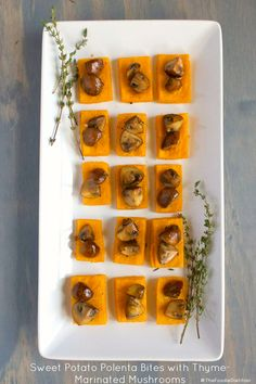 Perfect as a Thanksgiving or holiday appetizer, these sweet potato polenta bites are topped off with a deliciously savory thyme-infused mushroom marinade. Your guests won't be able to keep their hands off them!   @TheFoodieDietitian