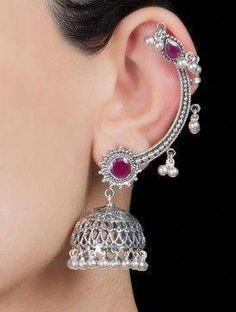 Paisley Silver Jhumkis by 925 Silver Jewelry #SilverJewelry #indianjewelleryonline