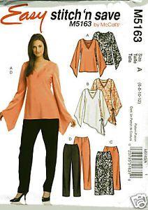 McCalls 5163 v neck Tops, assymetrical, draped v sleeve, Skirt Pants Sewing Pattern