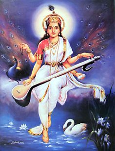 Saraswati the Hindu Goddess is very close to my heart of all the many faces of the goddess she is one that speaks very clearly to me in my d. Saraswati Mata, Saraswati Goddess, Durga, Shiva Shakti, Indian Goddess, Goddess Art, Saraswati Picture, Saraswati Painting, Divine Mother