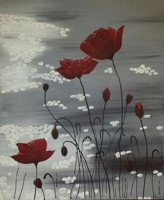 """Please remember me"" poppies painted in acrylics on canvas"