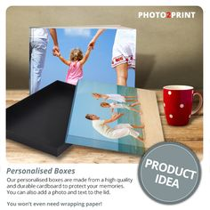 Product Idea: Our sturdy Photobook boxes not only protect your precious photobooks, they also look great! Personalised Box, Photo Book, Wraps, Boxes, Packaging, Memories, Cool Stuff, Paper, Prints