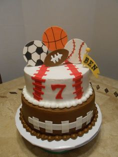 Ben's Sport's Birthday Cake - 8 & 10 inch butter cream with mmf accents