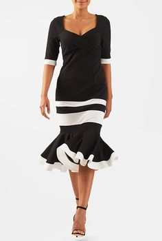 Colorblock cotton knit flounce hem dress #eShakti