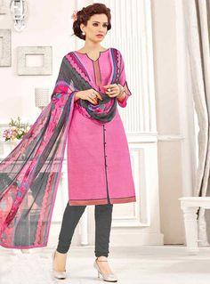 Pink Cotton Churidar Salwar Suit 83452