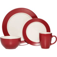 """<p>Set your table with style with this 16-piece dinnerware set featuring a smart pop of color.</p><div style=""""page-break-after: always;""""><span style=""""display: none;"""">"""