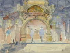 French Watercolor - Theater Night, c 1920