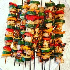 These pork and vegetable kabobs cooks up quickly on the grill. They're made with lean pork loin and summer veggies, including zucchini and bell peppers.