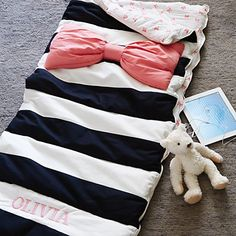 Candy Bow Sleeping Bag from Land of Nod! Preppy perfection!