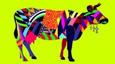 multi-colored cow
