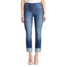 Petite Women's' Rock & Republic® Fever Pull-On Straight Leg Jeans, Size: 0P Short, Med Blue