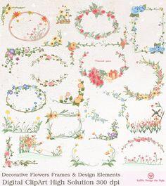 INSTANT DOWNLOAD Decoration Flowers Frames Wedding Design Elements Digital ClipArt cards Invitation Label Tags S753 Buy 1 Get 1 Free on Etsy, $5.00