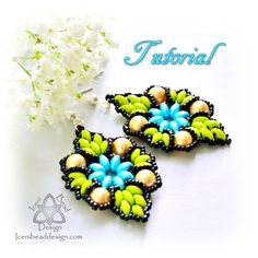 PDF Tutorial Veronique Earrings with Super Duo by IceniBeadDesign