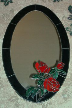 Oval Roses Stained Glass Mirror - Copper Foil Technique