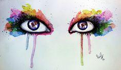 Watercolor colorfull eyes by Rabia Aydoğan