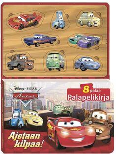 """Autot, Ajetaan kilpaa! -palapelikirjassa esittäytyvät Syylari Cityn tutuimmat asukkaat omissa arkisissa askareissaan. Kahdeksasta hahmosta on kirjan mukana palapelin pala, jonka lapsi voi sovittaa oikealle paikalleen.'  """"Kukaan ei radalla tarvitse karttaa, Voittoon riittää, kun vauhdilla starttaa!"""" Disney Pixar, Games, Gaming, Plays, Game, Toys"""