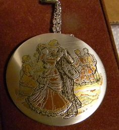 Vintage Reed & Barton Large Damascene Necklace Couple Dancing Gold Silver Bronze #ReedBarton