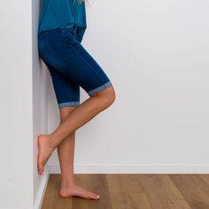 Modest shorts in medium dark wash