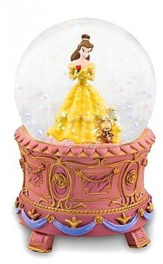 Belle with Cogsworth and Lumiere mini snowglobe