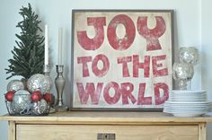 Joy to the World redSign by BetweenYouAndMeSigns on Etsy, $100.00