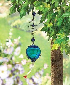 Hummingbird Feeder Sapphire Sphere Holds Nectar