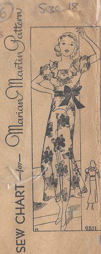 "1930s Vintage Sewing Pattern DRESS B36"" (R506) MARIAN MARTIN"