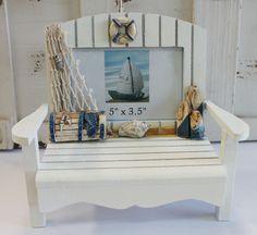 White Adirondack Chair 3.5 x 5 Picture Frame - Nautical Photo Frame - Coastal Decor - California Seashell Company